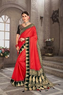 Red Poly Silk Jacqard Pallu Fancy Designer Saree