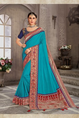 Blue Poly Silk Jacqard Pallu Fancy Designer Saree