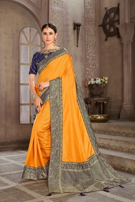 Yellow Poly Silk Jacqard Pallu Fancy Designer Saree