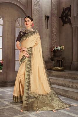 Gold Poly Silk Jacqard Pallu Fancy Designer Saree