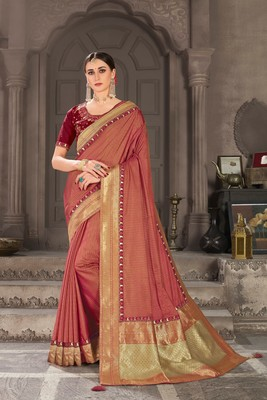 Red Poly Silk Jacqard Pallu Fancy Designer Saree