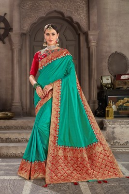 Green Poly Silk Jacqard Pallu Fancy Designer Saree