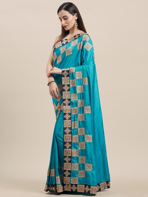 Blue Poly Silk Embroidered Fancy Designer Saree