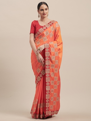 Orange Poly Silk Embroidered Fancy Designer Saree