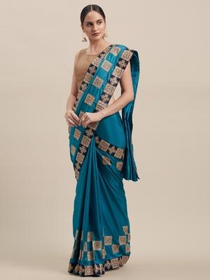 Blue Poly Silk Embroidered Fancy Designer Saree