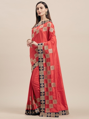 Red Poly Silk Embroidered Fancy Designer Saree