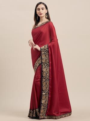 Maroon Poly Silk Big Border Fancy Designer Saree