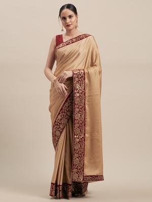 Brown Poly Silk Big Border Fancy Designer Saree