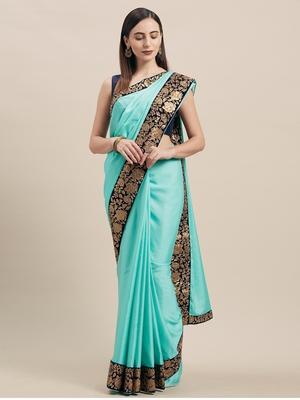Turqouise Blue Poly Silk Big Border Fancy Designer Saree