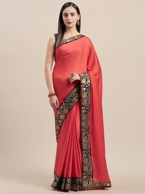 Red Poly Silk Big Border Fancy Designer Saree
