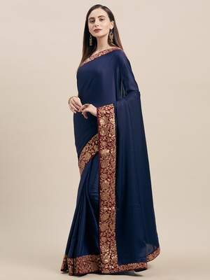 Navy Blue Poly Silk Big Border Fancy Designer Saree
