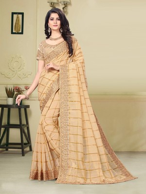 Gold Jute Silk Heavy Embroidered Work Fancy Designer Saree