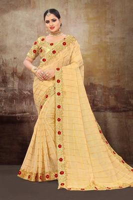 Gold Jute Silk Heavy Embroidered Work Fancy Designer Saree