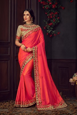 Red Poly Silk Heavy Embroidered Work Designer Saree