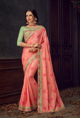 Pink Poly Silk Heavy Embroidered Work Designer Saree