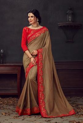 Brown Poly Silk Heavy Embroidered Work Designer Saree