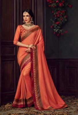 Orange Poly Silk Heavy Embroidered Work Designer Saree