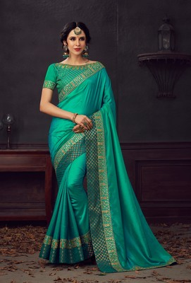 Green Poly Silk Heavy Embroidered Work Designer Saree