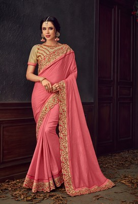 Pink Poly Silk Heavy Embroidered Work Designer Saree