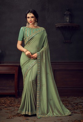 Olive Green Poly Silk Heavy Embroidered Work Designer Saree