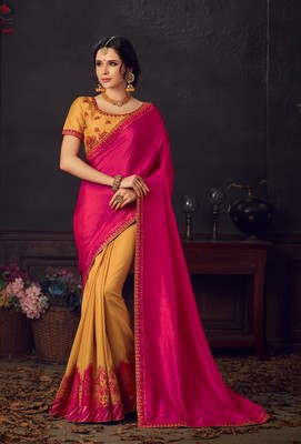 Pink and Yellow Poly Silk Heavy Embroidered Work Designer Saree