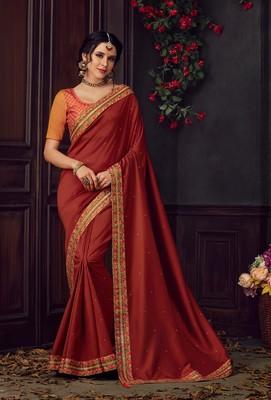 Maroon Poly Silk Heavy Embroidered Work Designer Saree