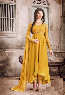 Yellow multi resham work georgette salwar