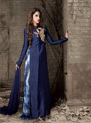 Dark blue multi resham work silk salwar