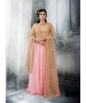 Pink multi resham work net salwar