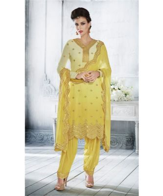 Yellow multi resham work georgette salwar