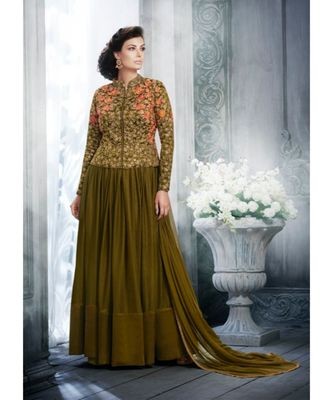 Dark-green multi resham work silk salwar