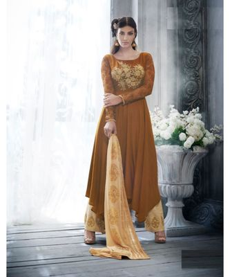 Brown multi resham work silk salwar