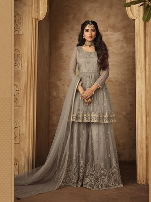 Grey multi resham work net salwar