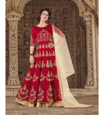 Red resham embroidery silk salwar