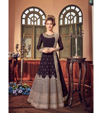 Black resham embroidery georgette salwar