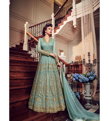 Sky blue resham embroidery net salwar