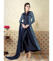 Navy blue resham embroidery satin salwar