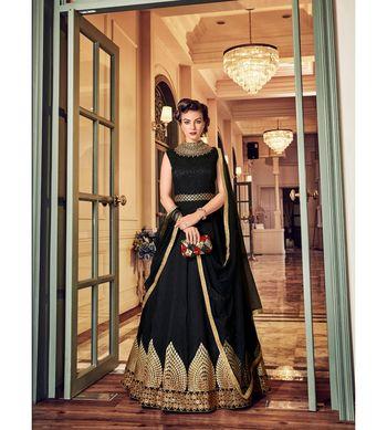 Black resham embroidery silk salwar