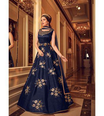 Dark blue resham embroidery silk salwar