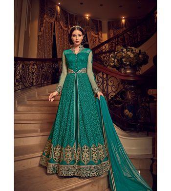 Green resham embroidery net salwar