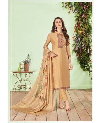 Beige multi resham work cotton silk salwar
