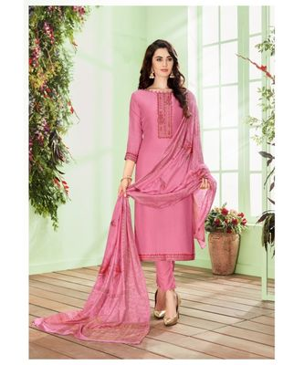 Pink multi resham work cotton silk salwar