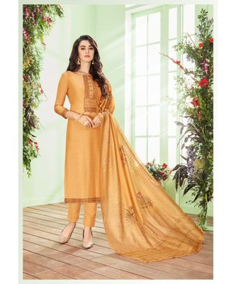 Mustard multi resham work cotton silk salwar