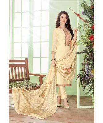 Cream multi resham work cotton silk salwar