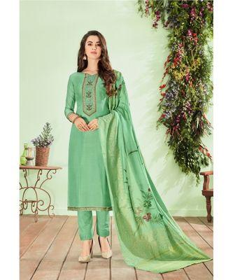 Green multi resham work cotton silk salwar