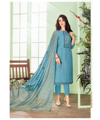 Blue multi resham work cotton silk salwar