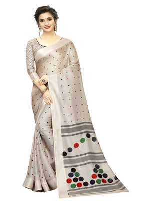 Grey printed linen saree with blouse