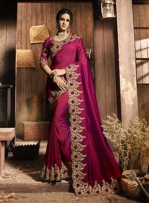 Purple embroidered polyester saree with blouse
