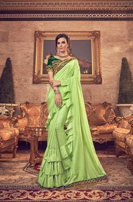 Light green plain silk blend saree with blouse