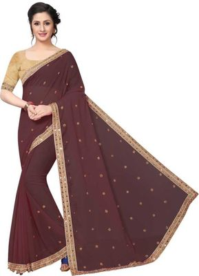 Brown Marbal Embroidered Saree with Blouse